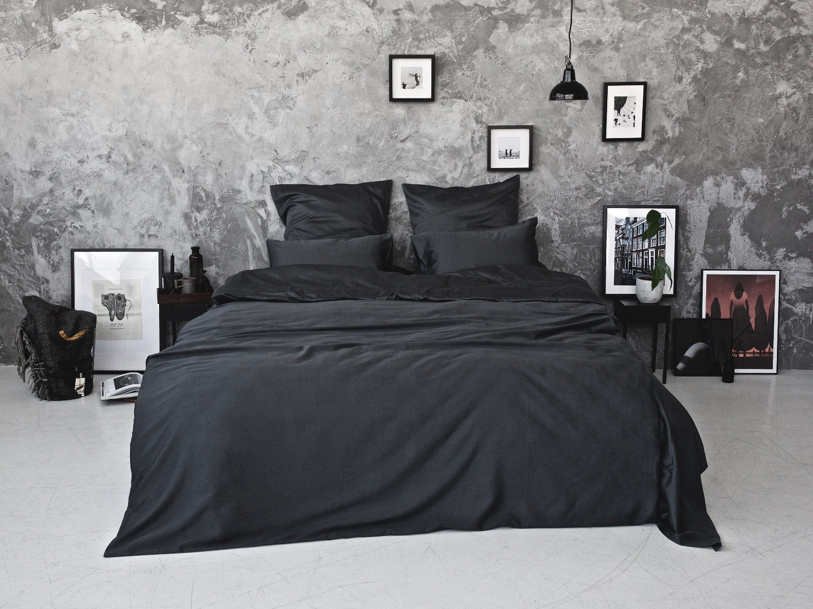 Bedroommood 300 Thread Count Egyptian Cotton Sateen Duvet Set Dark Grey Myza