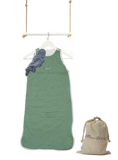 Little Earth Baby | Simple Babies Organic Cotton Embroidered Safari Bag    Emerald Green With Zebra | Myza