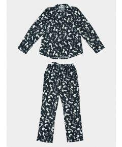 Mens Odyssey Cotton Pyjama Trouser Set - Navy Blue