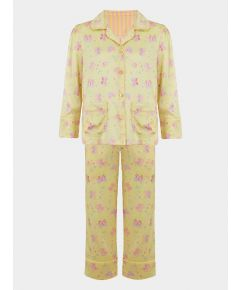 Girls Silk Pyjama Trouser Set - Amelie Lemonade Butterfly