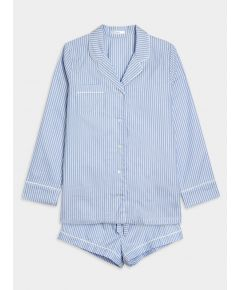 Women's Cotton Pyjama Short Set - Blue & White Stripe