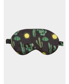 Silk Sleep Mask - Black Cactus