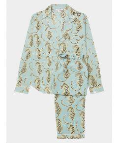 Women's Cotton Pyjama Trouser Set - Blue Leopard