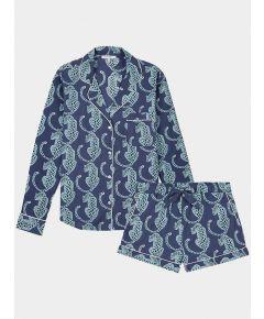 Women's Cotton Pyjama Short Set - Navy Leopard