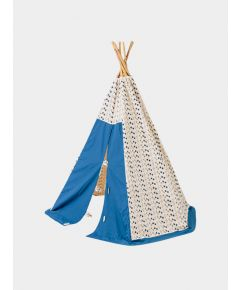 Organic Cotton Canvas Teepee with Bamboo Poles - Blue