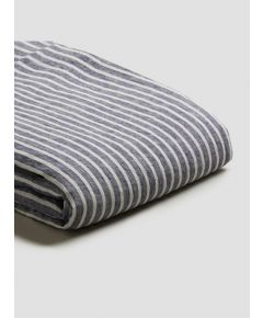 Natural French Flax Linen Duvet Cover - Midnight Stripe