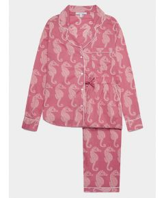 Women's Cotton Pyjama Trouser Set - Coral Seahorses