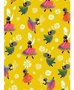Flower Girls - Yellow Non Woven Wallpaper