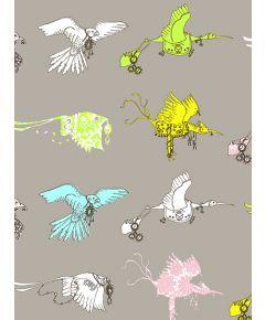 Flying Journey Non Woven Wallpaper - Grey