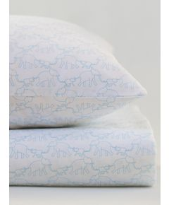 Cotton Cot Pillowcase - Blue Elephant