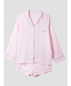 Women's Pink Linen Pyjama Short - Set/Separate