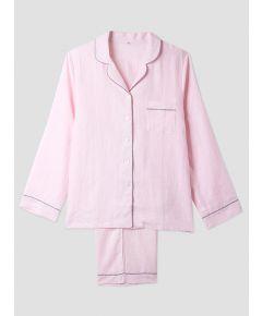 Women's Pink Linen Pyjama Trouser - Set/Separate