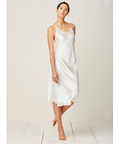 Clara Silk Nightdress - Moonlight White