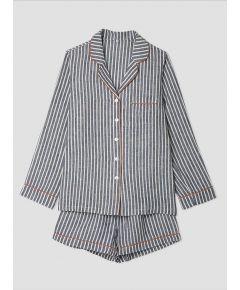 Women's Navy Stripe Linen Pyjama Short - Set/Separate