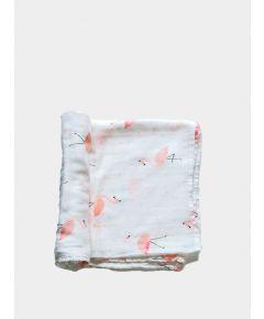 Organic Baby Swaddle Blanket - Flamingo