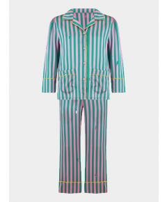 Girls Silk Pyjama Trouser Set - Amelie Flamingo Caterpillar Stripe