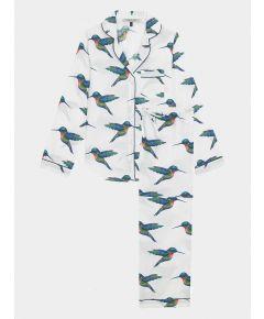 Women's Cotton Pyjama Trouser Set - White Hummingbird