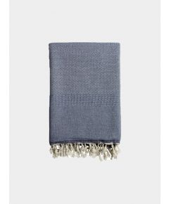 Ekin Cotton & Wool Blend Blanket - Denim