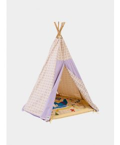 Organic Cotton Canvas Teepee with Bamboo Poles - Lilac