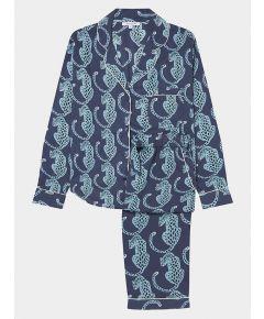 Women's Cotton Pyjama Trouser Set - Navy Leopard