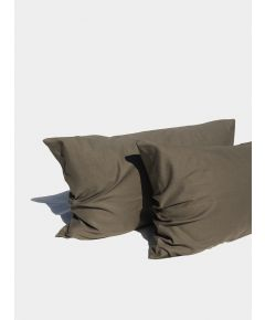 Linen & Bamboo Pillowcases (Pair)  - Olive Grey