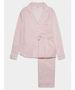 Women's Cotton Pyjama Trouser Set - Pink & White Stripe
