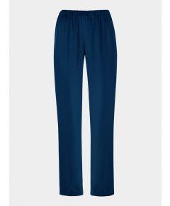 Wide Leg Silk Satin Trousers - Navy Blue