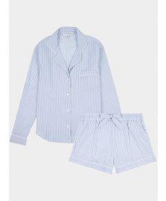 Women's Cotton Pyjama Short Set - Blue & White Stripe