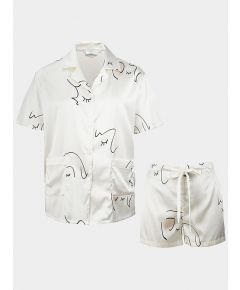 Silk Printed Short Pyjama Set - White