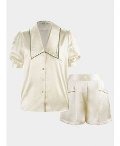 Silk Pyjama Short Set - Ivory