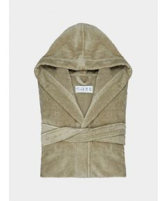 Sati Hooded Cotton Bathrobe - Stone
