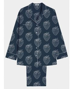 Women's Cotton Pyjama Trouser Set - White Strawberries on Navy