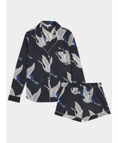 Women's Cotton Pyjama Short Set - White Bird