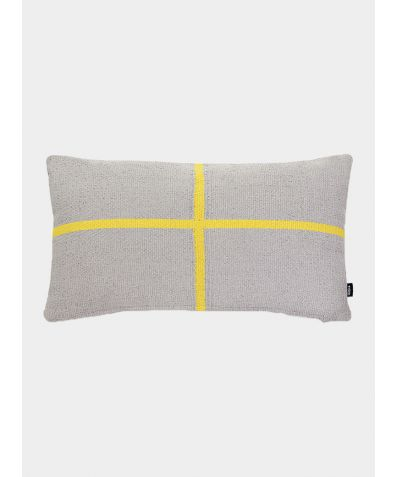 Jama-Khan Hand Woven Cotton Rectangle Cushion - Grey and Yellow