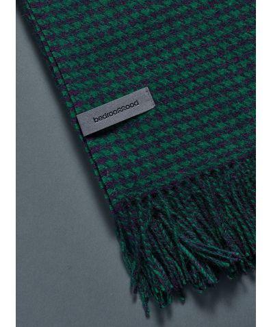 Alpaca Throw (Houndstooth Weave) - Green & Navy