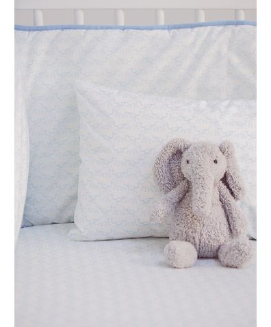 Cotton Cot Duvet Cover - Blue Elephant