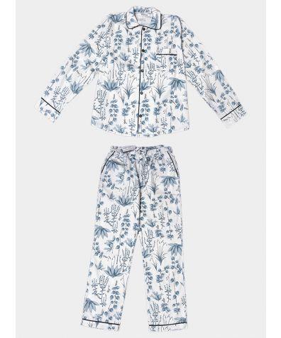 Mens Circe's Garden Cotton Pyjama Trouser Set - Grey
