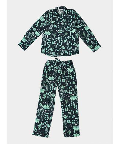 Mens Circe's Garden Cotton Pyjama Trouser Set - Navy Blue