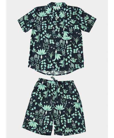 Mens Circe's Garden Cotton Pyjama Short Set - Navy