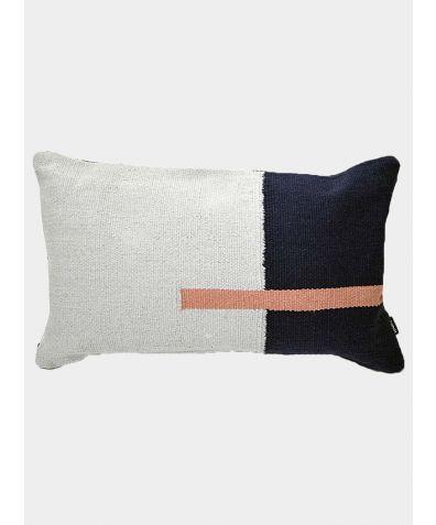 Jama-Khan Hand Woven Cotton Rectangle Cushion - Blue and Grey
