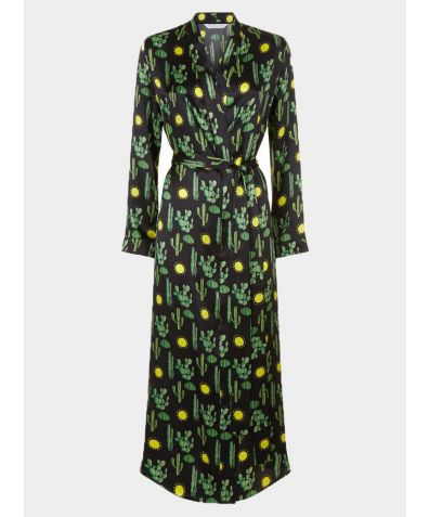 Silk Dressing Gown - Black Cactus Angelica
