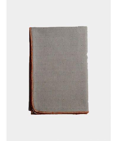 Arkan Geometric Weave Cotton Blanket - Dove Grey
