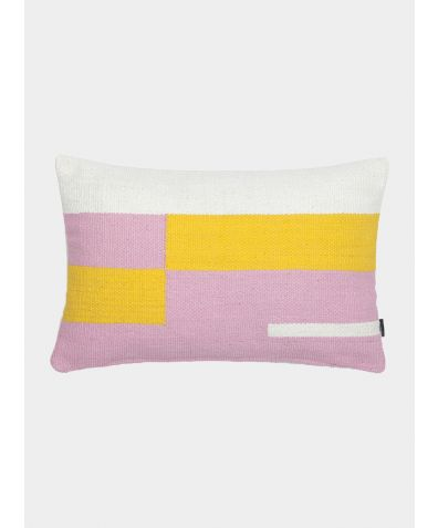 Jama-Khan Hand Woven Cotton Rectangle Cushion - Pink