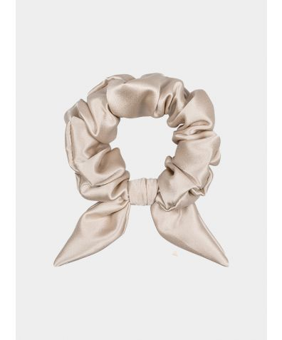 Silk Scrunchie with Knot Detail - Almond