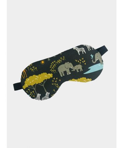 Cotton Sleep Mask - Elephants, Giraffes and Hippos