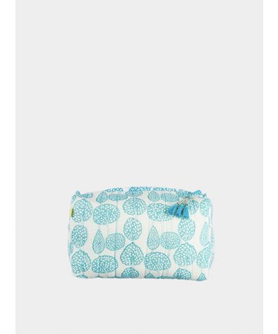 Lanka Small Trees Wash Bag - Aqua
