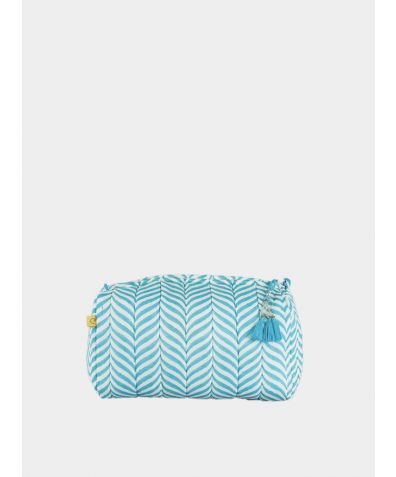Indore Soft Herringbone Make Up Bag - Aqua