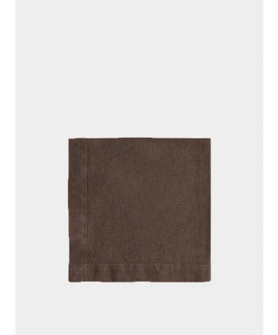 Linen Napkin Mitered Hem Collection - Aubergine