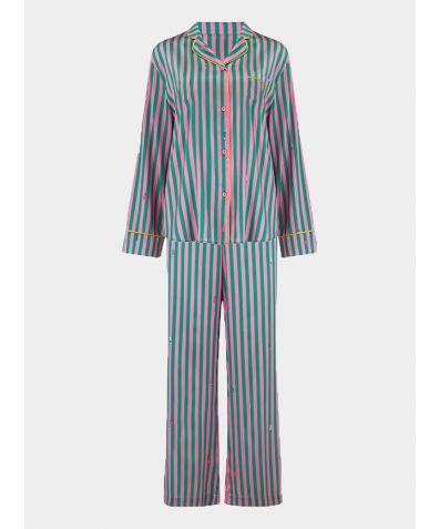 Women's Aurelie Flamingo Caterpillar Stripe Silk Pyjama Trouser - Set/Separate