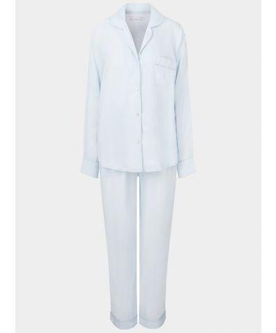 Women's Vegan Silk Pyjama Trouser Set - Azul-Celeste
